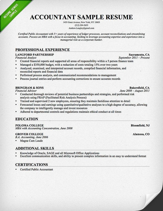 Write An Accountant Cv In Kenya Accounting Cv Sample For Kenyans
